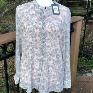 DKNY Pink/Grey Floral Button Down Blouse NWT small